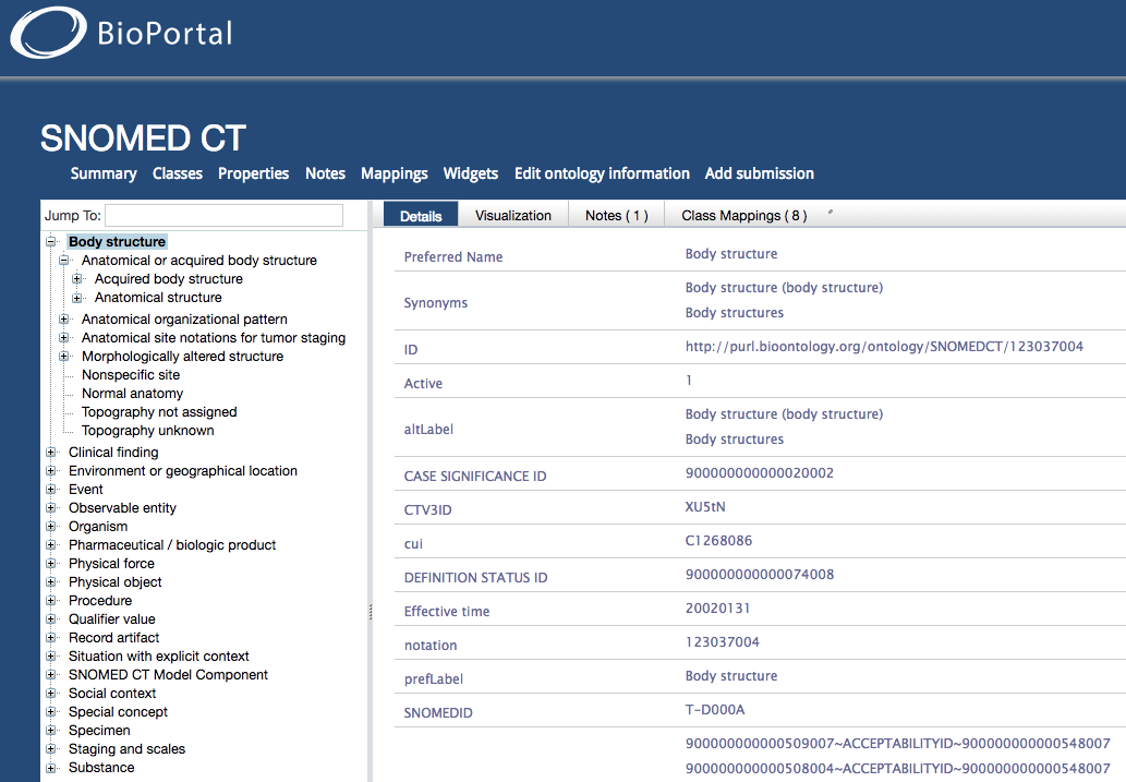 Screenshot of the SNOMED CT class tree in BioPortal